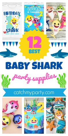 These 12 Fun Baby Shark Party Supplies Are the Best! 1st Birthday Party For Girls, Mermaid Birthday, Girl Birthday, Shark Party Decorations, Shark Party Supplies, Baby Shark, Cool Baby Stuff, Party Planning, Festival Celebration