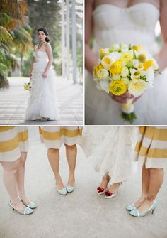 A touch of yellow for the bridesmaids!