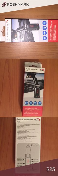 Car fm transmitter Brand new in box, never used.  Talk on Phone Hands-Free and Play Your Music  Connect your smartphone or tablet wirelessly via Bluetooth to this device Transmitter sends a signal to your chosen FM signal  Car radio picks it up Charge Your Devices    Built into the transmitter are two USB ports, so that you can charge your phone as it's streaming audio to your car.  Plugs into 12-volt outlet Uses Bluetooth 2.0 Full-frequency FM transmitter with digital display Other