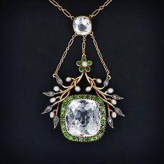 Aquamarine & Demantoid Necklace, 1890 #Necklace #Antique #Garnet