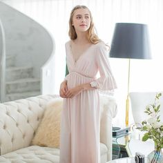 406c942eb8 New Autumn Pink Sexy Long Sleep Lounge Cotton Sleepwear Female Home Dress  Lace Princess Vintage Nightgown Women Sleeping Dress