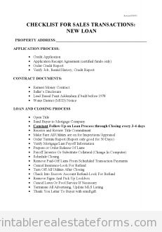 Printable Blank Sample checklist for sales with new loans 3 Form Editable Real Estate Forms, Online Real Estate, Checklist Template, Sales Template, Bill Template, Blank Form, Real Estate Templates, Legal Forms, Reference Letter