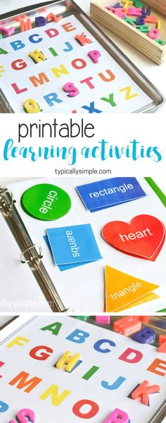 Learning Activities Binder & Free Printable - Typically Simple Create a preschool learning activities binder with a free printable for letters and shapes. (ad)<br> Create a preschool learning activities binder with a free printable for letters and shapes. Preschool Learning Activities, Preschool At Home, Preschool Classroom, Infant Activities, Toddler Preschool, Educational Activities, Educational Websites, Preschool Activities At Home, Morning Work For Preschool