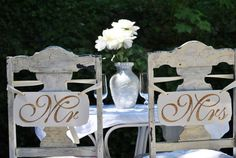 Mr and Mrs Hand painted Engraved wedding signs by vintagehints, $36.00