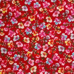 C0089 - floral colorido, fundo vermelho.