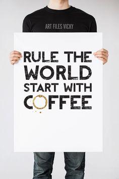 Coffee art print Kitchen Wall art Coffee quote by ArtFilesVicky Coffee Poster, Coffee Art, My Coffee Shop, Small Quotes, Art File, Kitchen Wall Art, Coffee Quotes, Typography Poster, Quote Wall