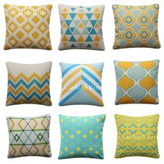 Aqua Yellow Geo Cushion Cover Moroccan Trellis Geometric Pillow Cover x Geometric Cushions, Geometric Pillow, Trellis, Moroccan, Pillow Covers, Aqua, Throw Pillows, Yellow, Cushions