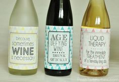 Super cute and funny printable free wine bottle labels! Easy and inexpensive gift idea!