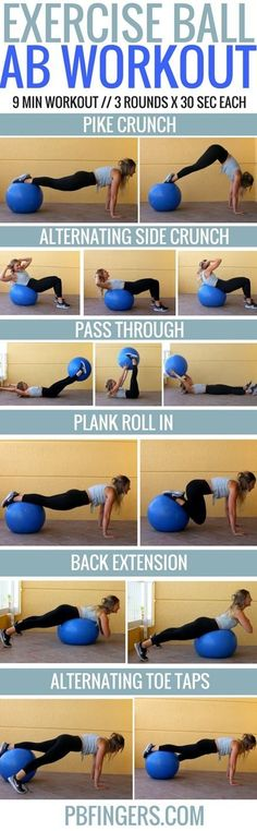 Ball Ab Workout Exercise Ball Ab Workout: A challenging stability ball ab workout that will work your entire core in only 9 minutes.Exercise Ball Ab Workout: A challenging stability ball ab workout that will work your entire core in only 9 minutes. Exercise Ball Abs, Excercise, Yoga Fitness, Fitness Tips, Health Fitness, Fitness Motivation, Workout Fitness, Motivation Quotes, Planet Fitness
