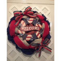 Patriotic Door Decor ($80) via Polyvore featuring home, home decor, heart shaped wreath, american flag home decor, door wreaths, heart wreath and door plaques