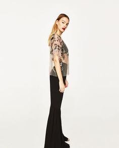 Image 4 of EMBROIDERED TULLE TOP from Zara