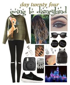 """""""day twenty four, going to disneyland"""" by roxouu ❤ liked on Polyvore featuring Topshop, Forever 21, Bellezza, Fujifilm, NIKE, Rebecca Minkoff, Disney, disney and byroxouu"""