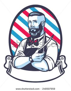 Illustration about Vector of retro illustration of barber man. Illustration of retro, scissors, ornament - 56089586 Barber Shop Pole, Barber Shop Decor, Barber Man, Barber Logo, Barber Chair, Vintage Logo, Barbershop Design, Man Vector, Retro Illustration
