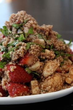 Strawberries with Chicken, Cheese and Couscous