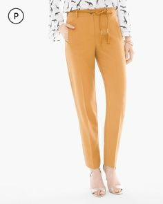 Chico's Women's Petite Rope Belt Tapered Ankle Pants, Golden Ochre, Size: 1P (8P/10P M)