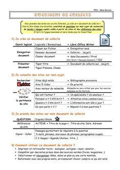 """Le document de collecte - Le Bateau Livre. Voici quelques conseils pour créer un """"Document de collecte"""", permettant de prendre des notes sur des sites Internet, lors d'une recherche documentaire."""
