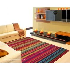 Fresh Red Rug - Striped Rugs