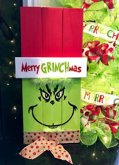 Who doesn& love the Grinch? It& a Christmas classic! This year I am doing a Grinch themed WhoVille Grinch-mas party and have b. Grinch Party, Grinch Christmas Party, Office Christmas, Christmas Wood, Christmas Signs, Outdoor Christmas, Christmas Projects, Christmas Holidays, Grinch Decorations