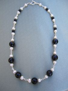 Black Onyx, Pearl and Crystal Necklace