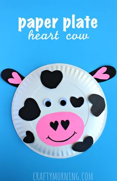 paper plate cow valentine craft