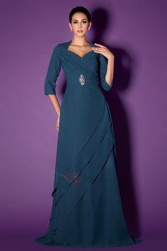 Agraciado Vestido de Madre de Boda con Plisado y Escote Corazón y Silueta Línea-A Taline's  (Envío Gratuito)