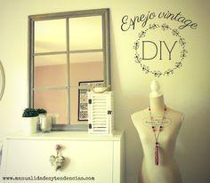 Espejo vintage de cuarterones www.manualidadesytendencias.com #espejo #vintage #shabby #decoracion #diy #homedecor #bricolaje #ikea #hack