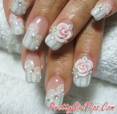 @prettygirltips Embellished Wedding Nail Design