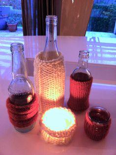 Chutes de laine, jolies bouteilles et pots de verre, tout pour ne pas oublier de tenir chaud à nos vases et photophores de récup.