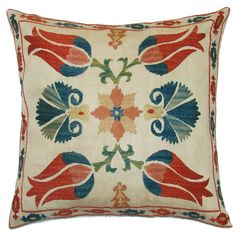Suzani tulip motif on modern pillow cover