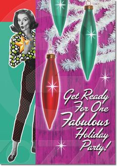 The Mid Century Modern Holiday Party Invitation features a festive and fashionable 1960s woman on this fun invite that will set the stage for your fabulous holiday party. Customize both sides of the card to your party information. Get ready for a fabulous time!