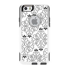 CUSTOM White OtterBox Commuter Series Case for Apple iPhone 6 47 Model  Black White Floral Pattern -- For more information, visit image affiliate link Amazon.com