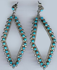 Large Vintage Zuni Indian Sterling Silver Snake Eye Turquoise Earrings