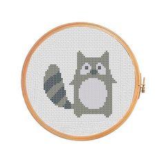 Funny raccoon cross stitch pattern, raccoon cross stitch pattern, modern cross stitch pattern