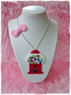 Gumball machine necklace perler beads by Chunkylicious on Etsy, Perler Beads, Fuse Beads, Trendy Fashion Jewelry, Fashion Jewelry Necklaces, Fashion Jewellery, Cheap Fashion, Pearler Bead Patterns, Perler Patterns, Petite Purses