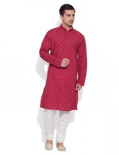 3b83689ff67 Buy Cardinal Red Mens Cotton Long Kurta Online India