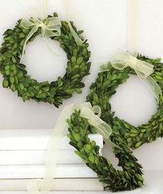 Simple boxwood wreaths Available at The Garden Boutique, Ventura, CA