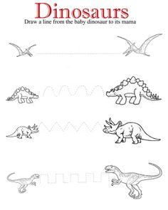Draw Dinosaurs Dinosaurs Drawing/Cutting Lines Dinosaur Worksheets, Dinosaur Theme Preschool, Dinosaur Activities, Dinosaur Crafts, Free Preschool, Preschool Curriculum, Preschool Lessons, Preschool Learning, Kindergarten Worksheets