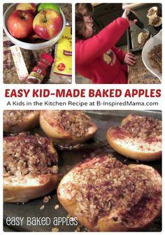 Kids in the Kitchen - Easy Baked Apples Recipe #kids #kidsinthekitchen #apples #kbn