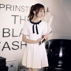 Japanese Fashion - Slim short-sleeved round neck A-line dress 尺码 胸围 腰围 袖长 裙长 肩宽 S 84 67 23 81 35 M 88 71 24 83 36 L 92 75 25 85 37