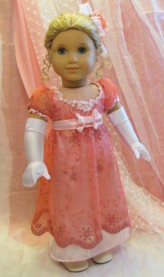 Porcelánová panenka * v krásných růžových, vyšívaných večerních šatech s rukavičkami ♥
