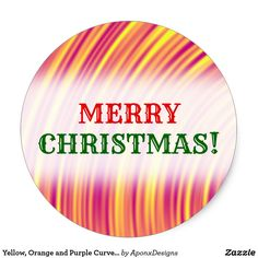 Shop Yellow, Orange and Purple Curved Ripples Pattern Classic Round Sticker created by AponxDesigns. Orange And Purple, Yellow, Christmas Stickers, Merry Christmas, Pattern, Merry Little Christmas, Patterns, Wish You Merry Christmas, Model