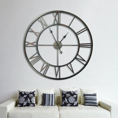 London Large Round Silver Wall Clock With Antiqued Mirror Glass