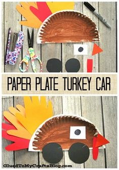 Paper Plate Turkey Cars Kid Craft Kid Art Ideas Of Thanksgiving Paper Plate Crafts. Easy Diy Crafts, Creative Crafts, Diy Crafts For Kids, Art For Kids, Craft Ideas, Kid Art, Craft Projects, Thanksgiving Crafts For Kids, Fall Crafts