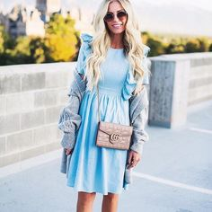 Thanks for sharing this stunning look in the Florence Chambray Dress @lyndiinthecity  And what perfect styling for Fall!  #rachelparcell