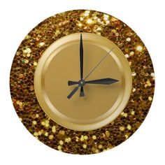 Glitzy kitchen wall decor clock with simulated gold glitter printed on the clock face, along with gold colored design element in a modern, fun design for your kitchen, den or dorm room. Kitchen Clocks, Kitchen Decor, Wall Clock Design, Wall Clocks, Dorm Room, Gold Glitter, Den, Cool Designs, Wall Decor