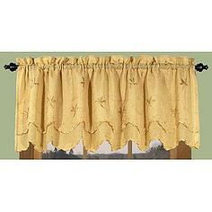 $17.39 Ricardo Trading Zurich Embroidered Sheer Scallop Valance - Butterscotch over sink and on door