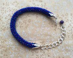 Handmade Crochet Blue Czech Seed Beads Bracelet