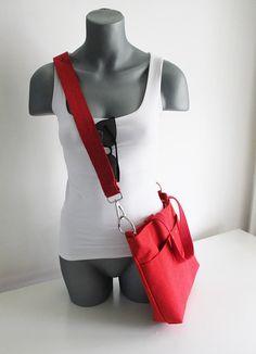 KAN02- Red Canvas, Messenger Bag, Metal Zipper, Removable Shoulder Strap, Handmade Bag, Canvas Bag,  Shoulder Shopper Bag
