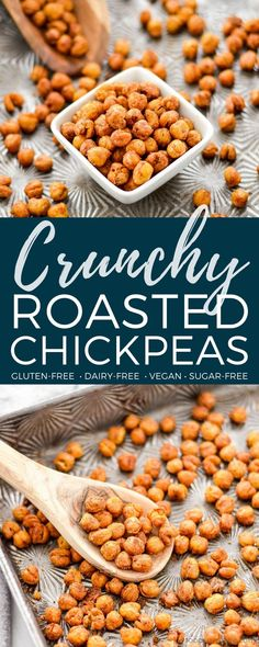 Crunchy Roasted Chickpeas - roast with no oil for 15 mins, add 1/2 tbsp oil and spices, roast more