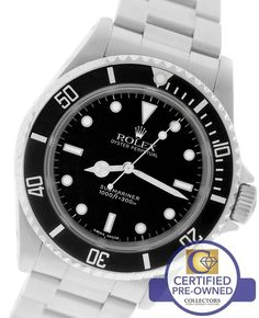 2005 Mens Rolex Submariner No-Date 14060 M Stainless Steel Black Dive 40mm Watch